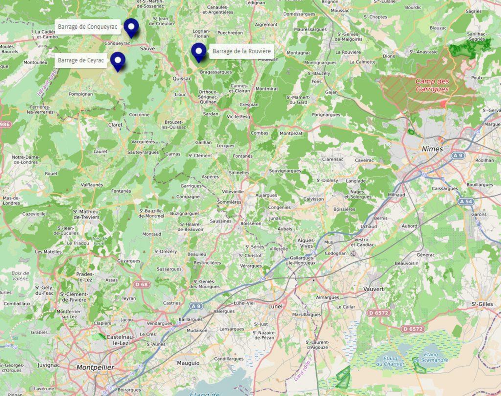Positions des barrage du Vidourle